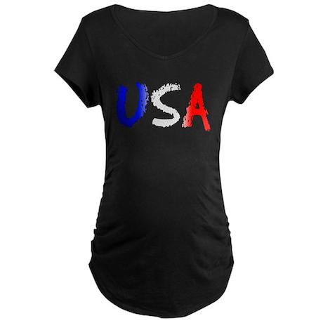 USA red white blue ver1 Maternity Dark T-Shirt