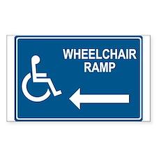 Wheelchair Ramp Notice Rectangle Stickers