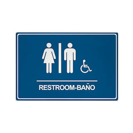 Restroom Bano Servicios Rectangle Magnet (100 pack