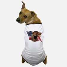 Chocolate Lab Flag Dog T-Shirt