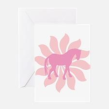 Pink Tang Horse Flower Greeting Card