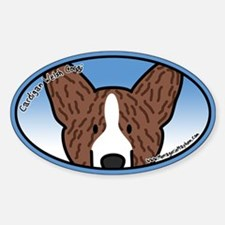 Anime Brindle Cardigan Corgi Oval Decal