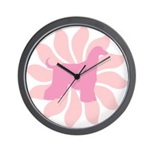Pink Flower Afghan Hound Wall Clock