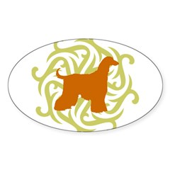 Lime & Rust Afghan Hound Oval Decal