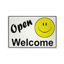 Smiley Face Welcome Rectangle Magnet (10 pack)