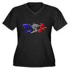 USA (Graffiti) Women's Plus Size V-Neck Dark T-Shi