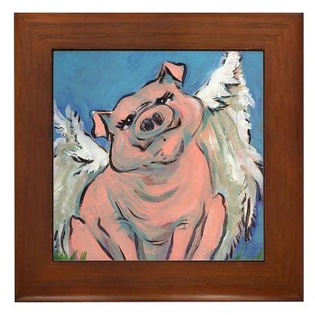 flying piggie 3 framed tile
