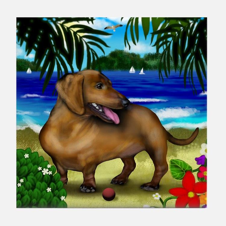 DACHSHUND DOG BEACH Tile Coaster
