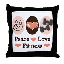 Peace Love Fitness Throw Pillow