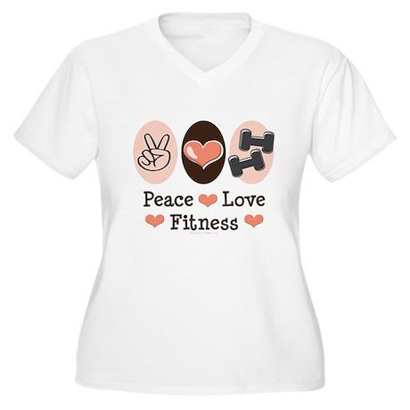 Peace Love Fitness Women's Plus Size V-Neck T-Shir