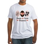 Peace Love Fitness Fitted T-Shirt