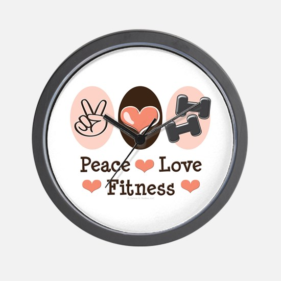 Peace Love Fitness Wall Clock