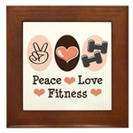 Peace Love Fitness Framed Tile