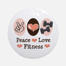 Peace Love Fitness Ornament (Round)
