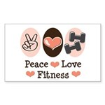 Peace Love Fitness Rectangle Sticker