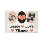 Peace Love Fitness Rectangle Magnet (100 pack)