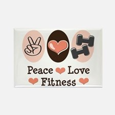 Peace Love Fitness Rectangle Magnet