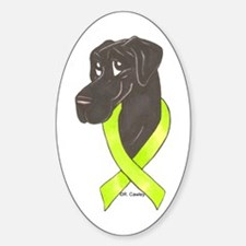 NBlk Chartreuse Ribbon Oval Decal