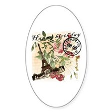 French Postcard for 08.08 Birthday Oval Decal