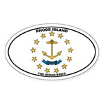 Rhode Island State Flag Oval Sticker