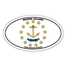 Rhode Island State Flag Oval Decal