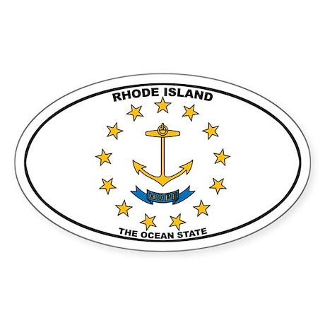 Rhode Island State Flag Oval Sticker