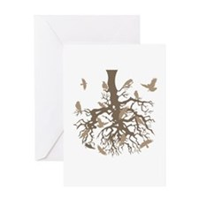 Upside Down Tree Ravens Greeting Card