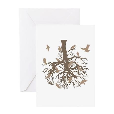 Upside Down Tree Ravens Greeting Card