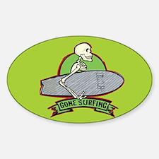 Surfing Halloween Skeleton Oval Decal