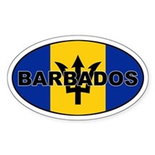 Barbados National Flag Oval Bumper Stickers