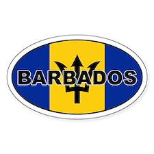 Barbados National Flag Oval Decal
