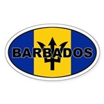 Barbados National Flag Oval Sticker