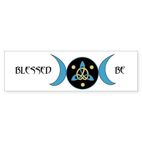 Blue Blessed Be Goddess Symbol Bumper Sticker