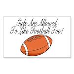 Girls & Football Rectangle Sticker 10 pk)