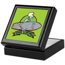 Surfing Halloween Skeleton Keepsake Box