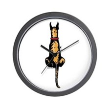 Brindle Great Dane Fence Sitter Wall Clock