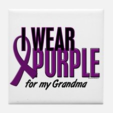I Wear Purple For My Grandma 10 Tile Coaster