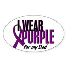 I Wear Purple For My Dad 10 Oval Decal