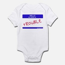 trouble name tag Infant Creeper