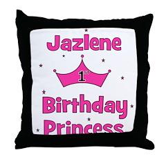 1st Birthday Princess Jazlene Throw Pillow