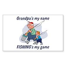 Fishing Grandpa Rectangle Decal