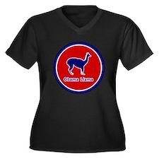 Obama Llama Women's Plus Size V-Neck Dark T-Shirt