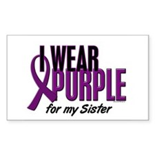 I Wear Purple For My Sister 10 Rectangle Decal