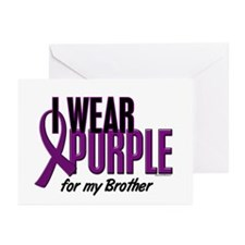 I Wear Purple For My Brother 10 Greeting Cards (Pk