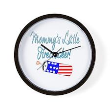 Mommy's Little Firecracker blue Wall Clock