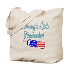 Mommy's Little Firecracker blue Tote Bag
