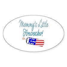 Mommy's Little Firecracker blue Oval Decal