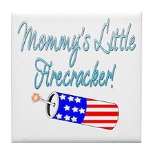 Mommy's Little Firecracker blue Tile Coaster