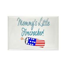 Mommy's Little Firecracker blue Rectangle Magnet (