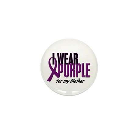 I Wear Purple For My Mother 10 Mini Button (10 pac